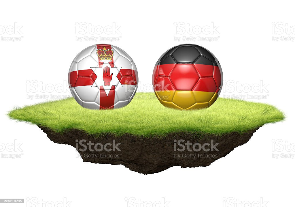 Northern Ireland and Germany team balls for football championship tournament stock photo