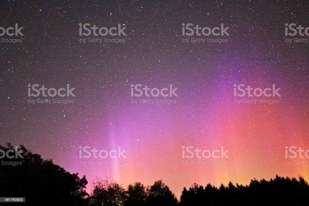 Northern Light in Pink Yellow Red stock photo