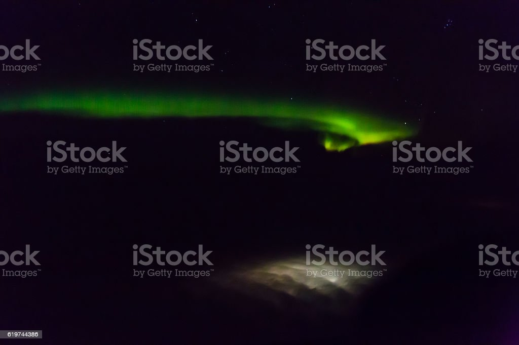 Northern Light over Gillam, Manitoba stock photo