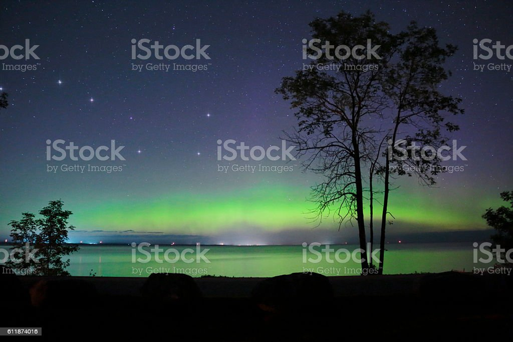 Northern Light with Big Dipper stock photo