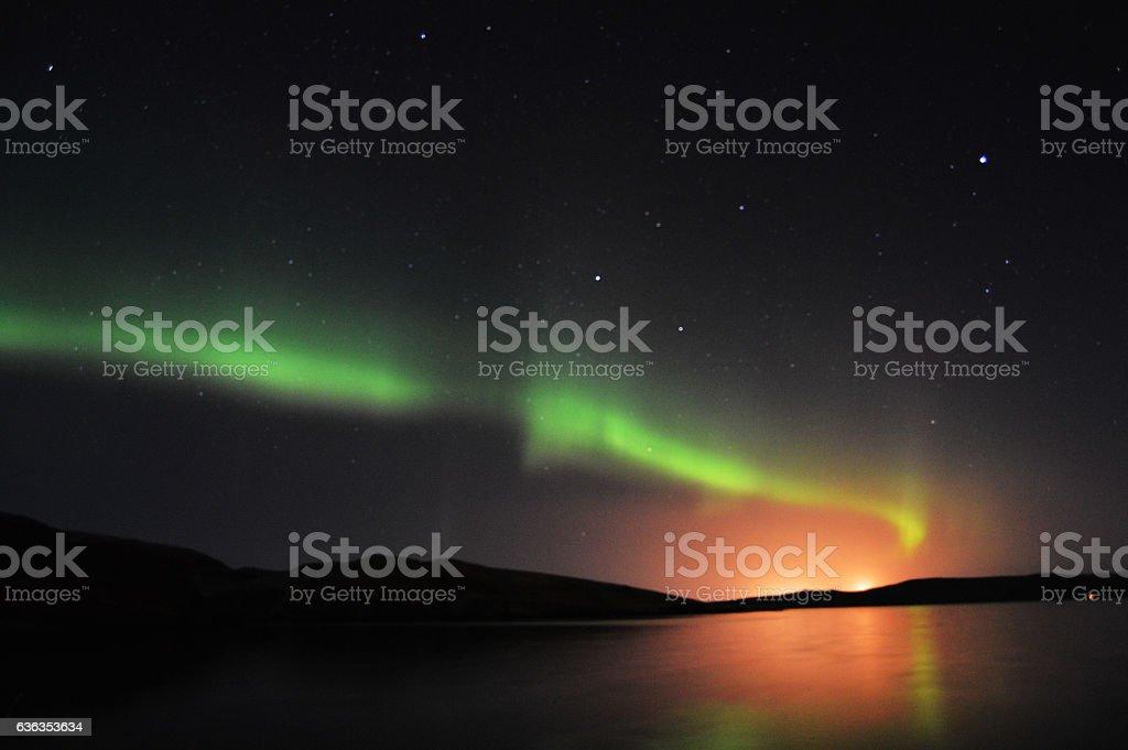 Northern Lights and stars on Shetland Islands stock photo