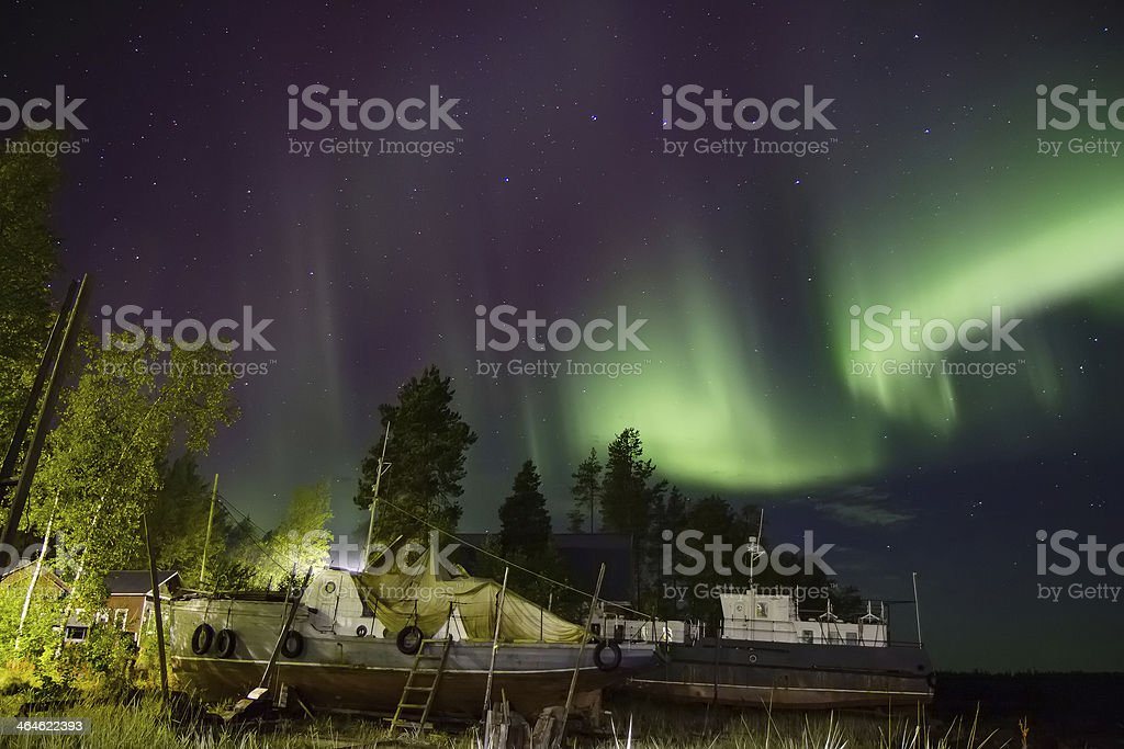 Northern lights at the White sea royalty-free stock photo