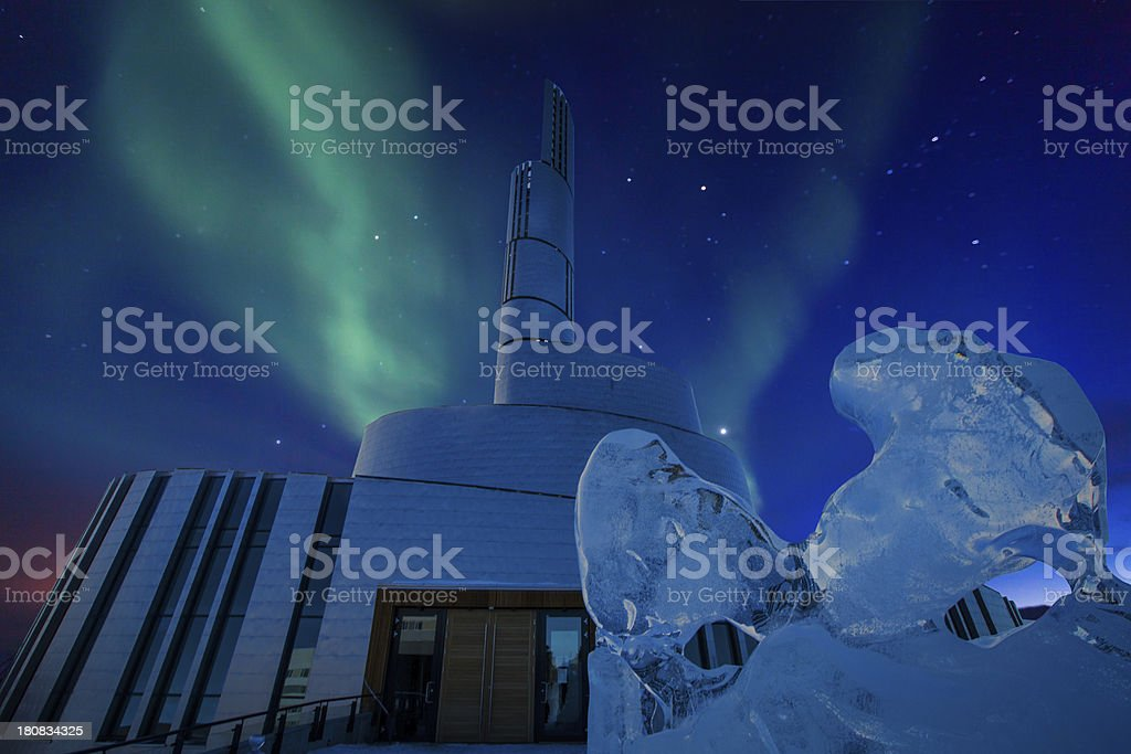 Northern lights cathedral Alta Norway with aurora borealis stock photo