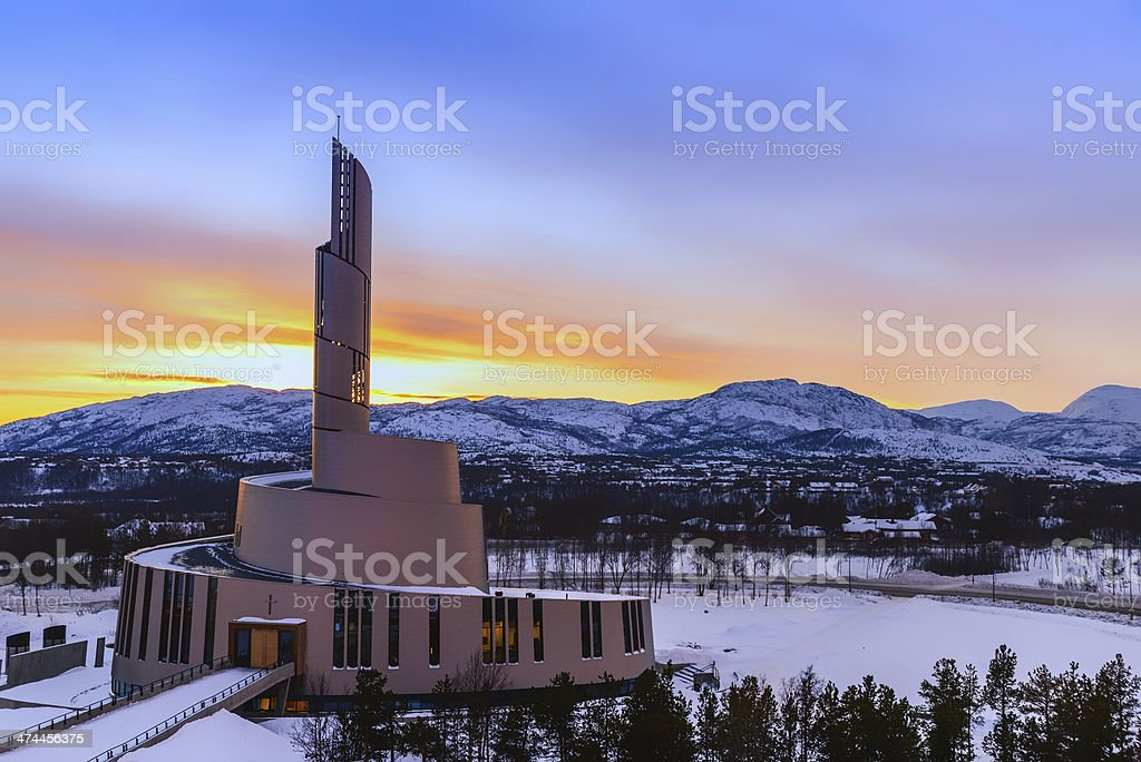 Northern Lights Cathedral at Sunset stock photo