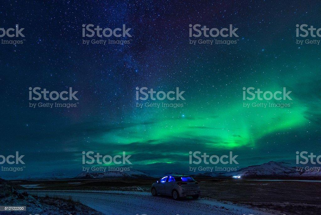 Northern lights (Aurora Borealis) in Iceland stock photo