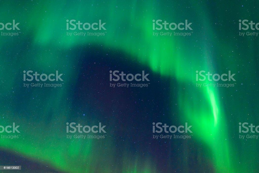 Northern Lights in night sky over the Lofoten Islands Norway stock photo