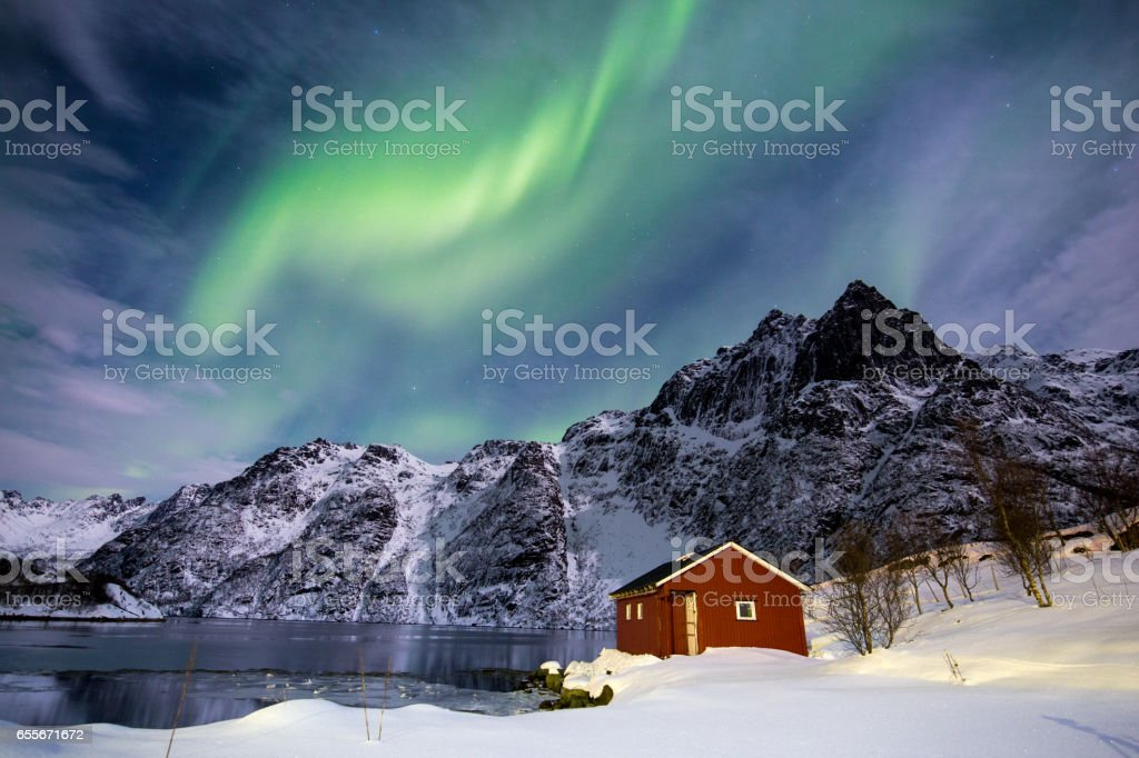 Northern Lights in Norway, Lofoten Islands stock photo