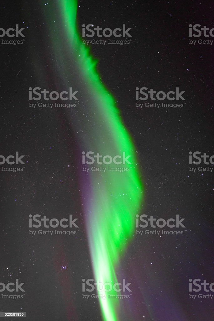 Northern Lights in the night sky over Lofoten Islands Norway stock photo