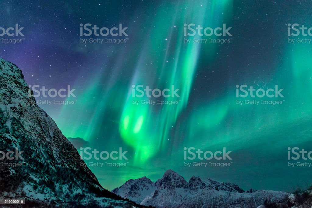 Northern Lights mountains at the Lofoten Islands in Norway stock photo