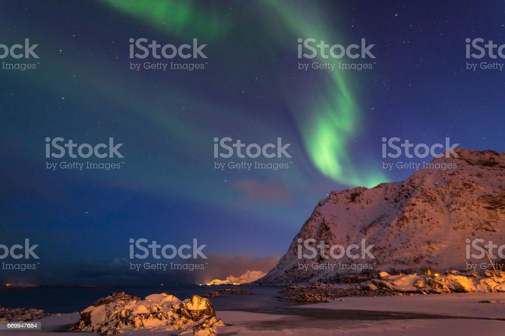 Northern Lights of Lofoten stock photo