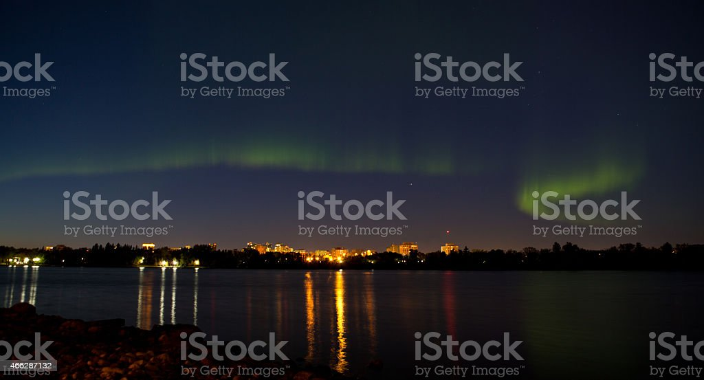 Northern lights over downtown Regina in Saskatchewan stock photo