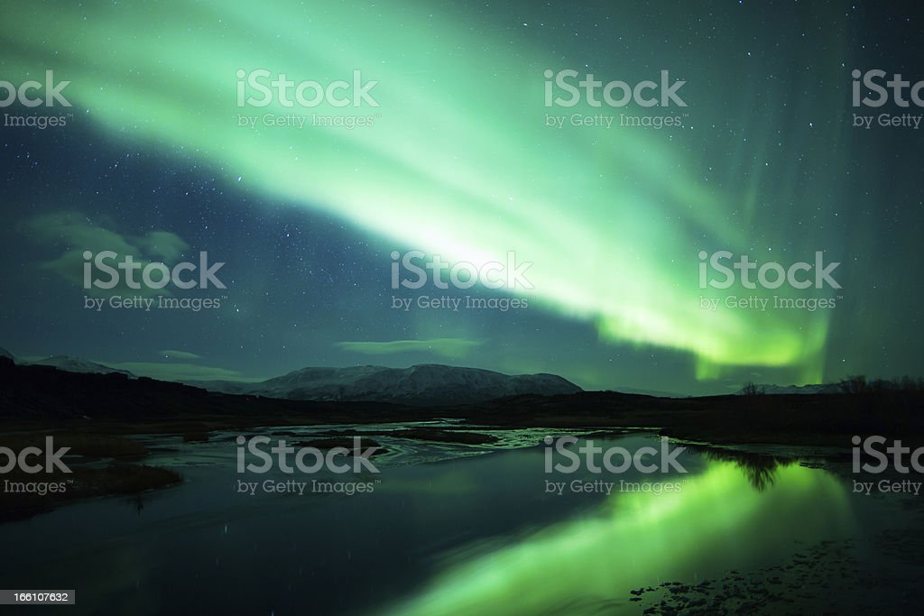 Northern lights (Aurora borealis) Over Iceland royalty-free stock photo