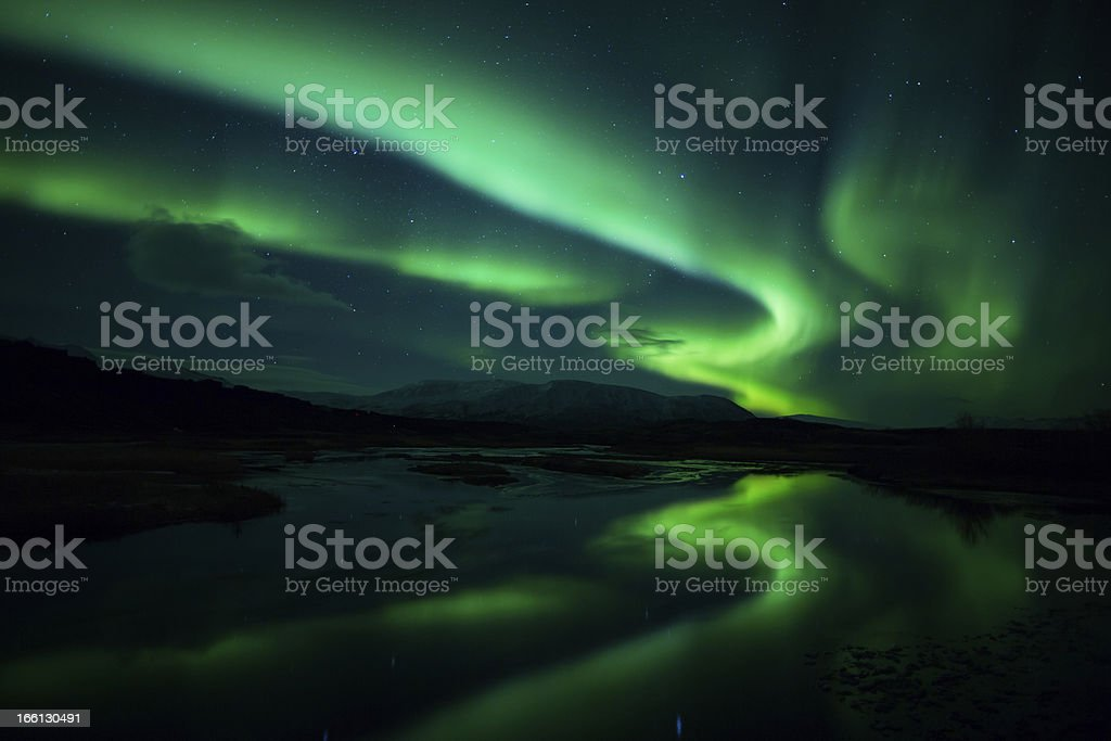 Northern lights (Aurora borealis) Over Iceland stock photo