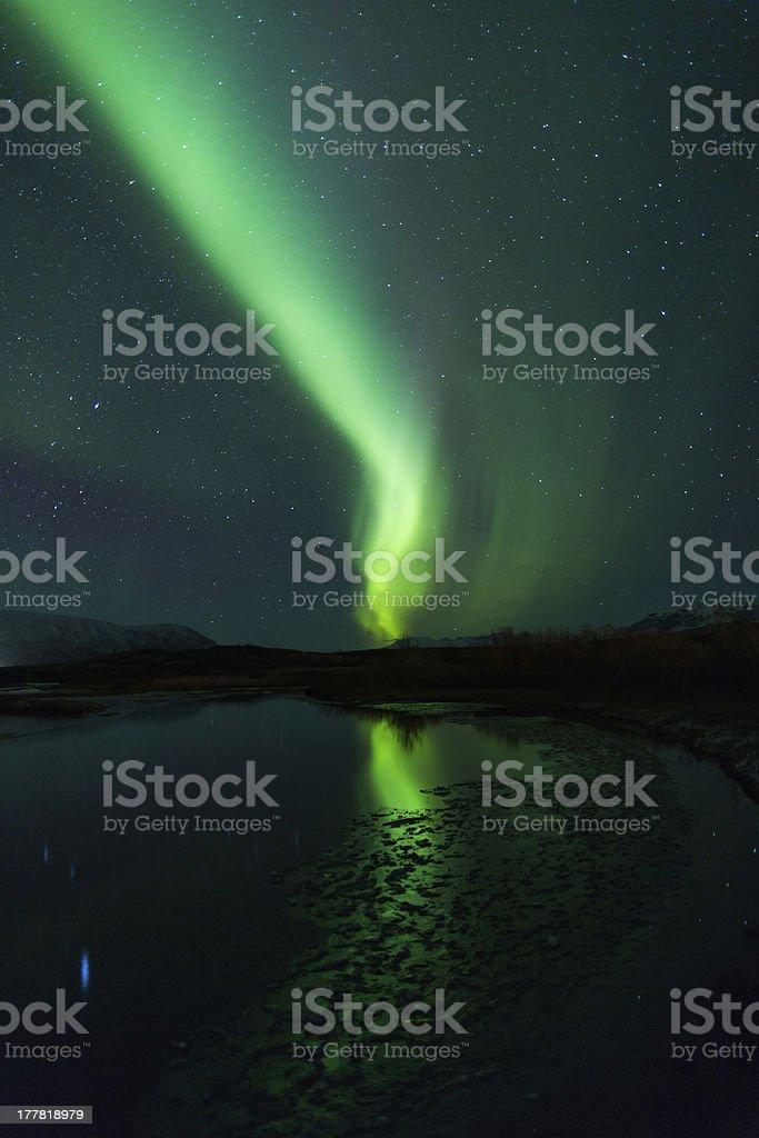 Northern lights (Aurora borealis) Over Iceland royalty-free stock photo