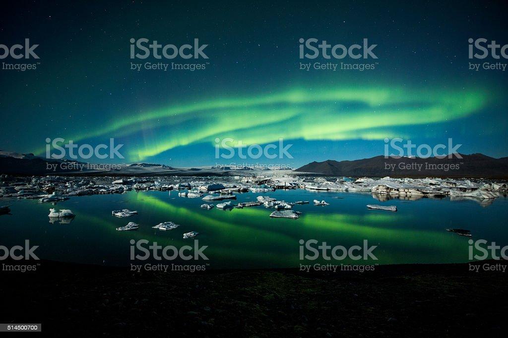 Northern Lights over Jokulsarlon - Iceland stock photo