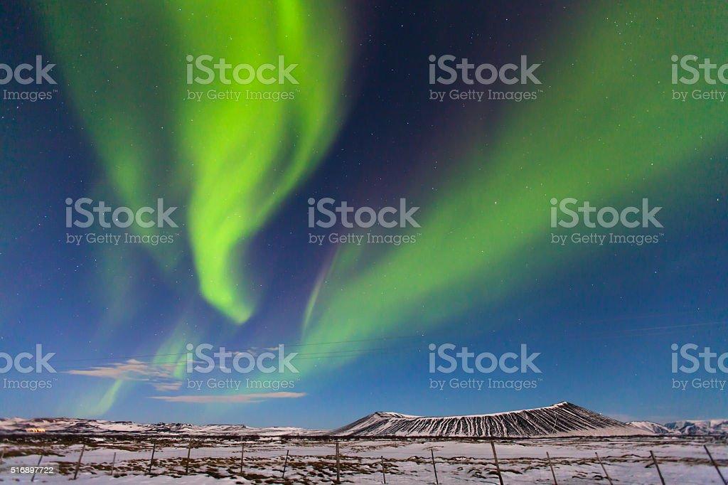 Northern Lights over Myvatn (Iceland) stock photo