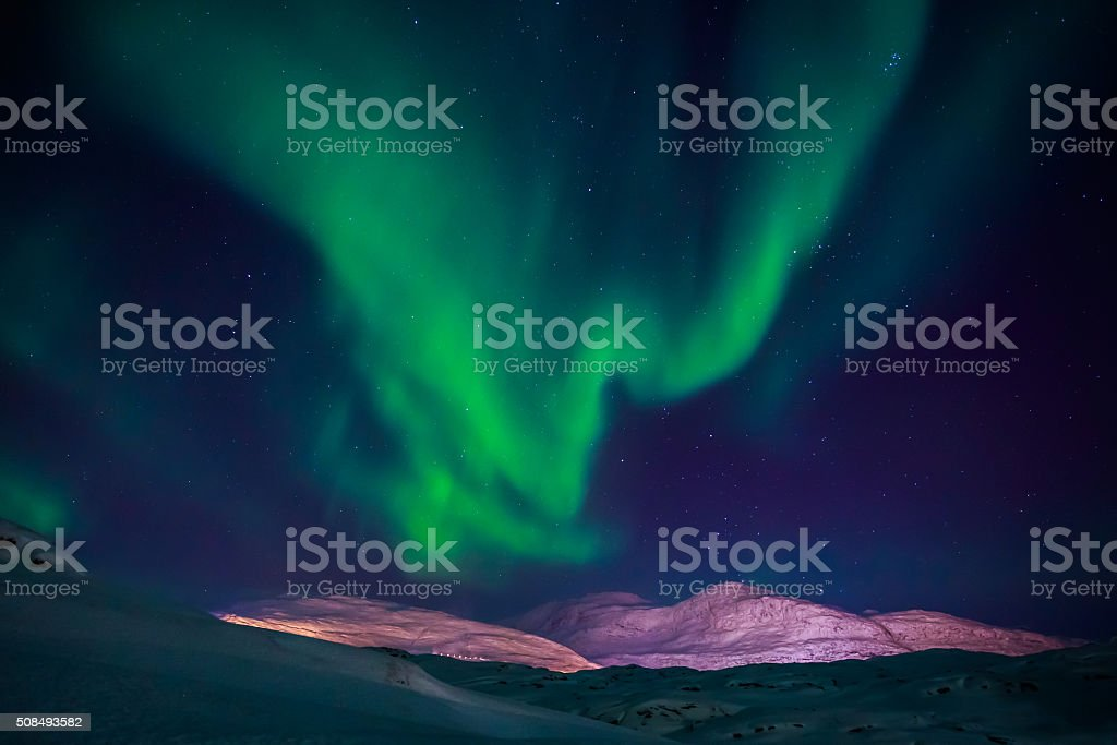 Northern lights over Nuuk city, October 2015, Greenland stock photo