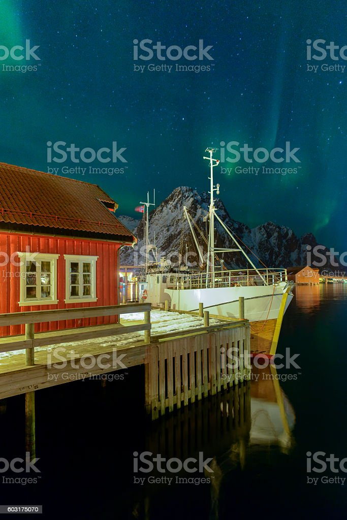 Northern lights over Svolvaer harbour in the Lofoten, Norway stock photo