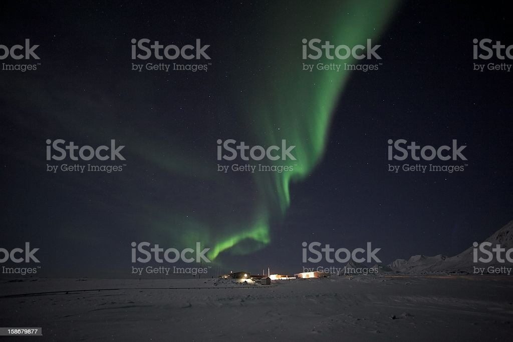 Northern Lights over the Polar Station stock photo
