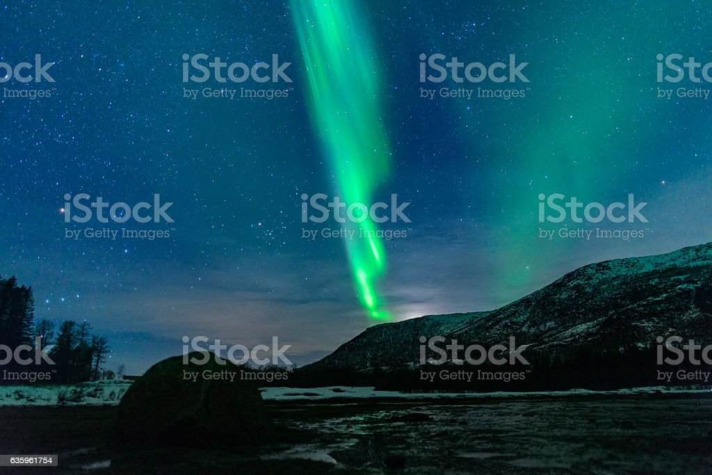 Northern Lights over the Vesteralen coast in Norway during winte stock photo
