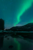 Northern Lights over the Vesteralen coast in Norway during winter