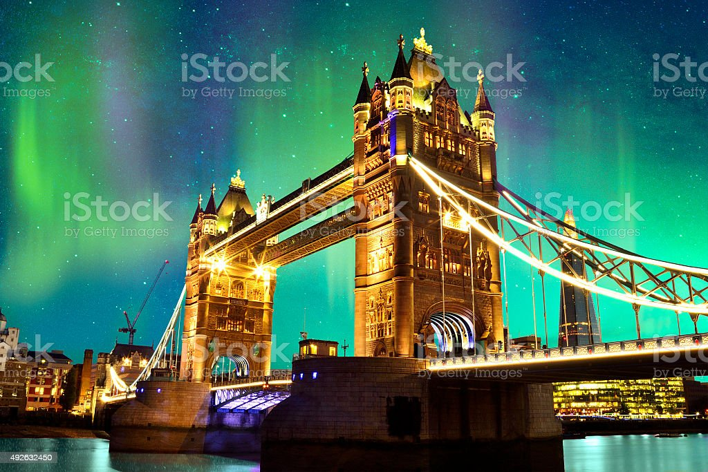 Northern Lights over Tower Bridge in London, UK stock photo