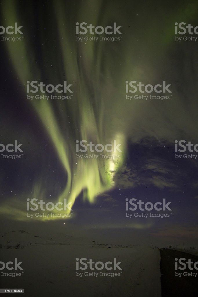 Northern Lights Road royalty-free stock photo