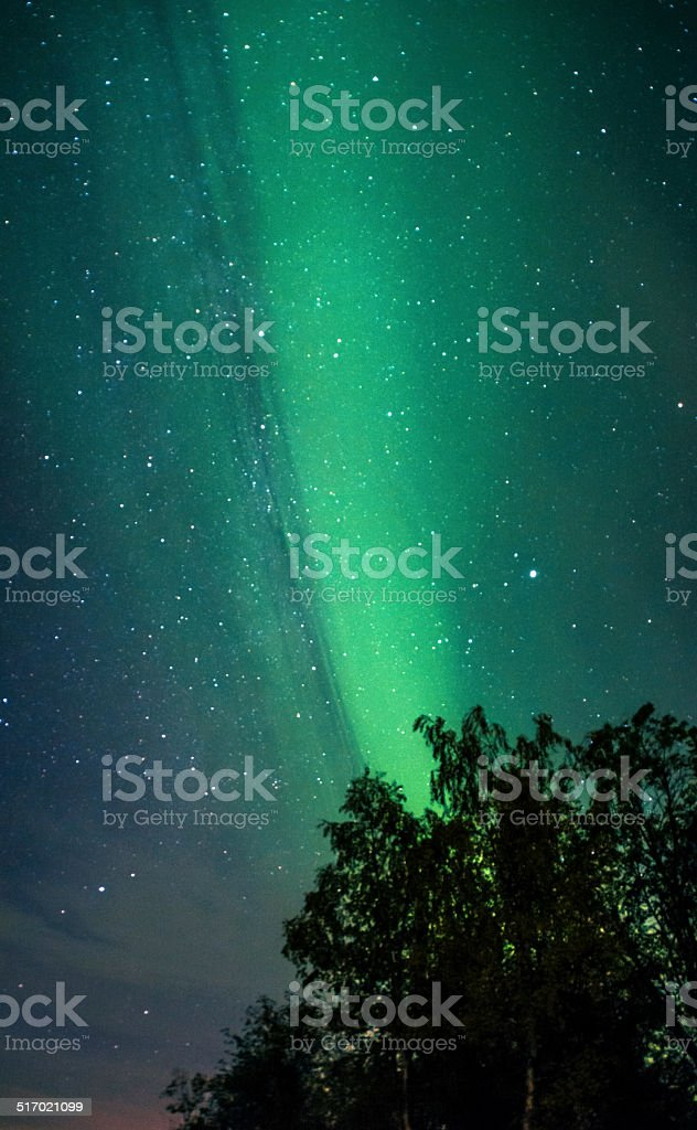 Northern ligths and Milky Way stock photo