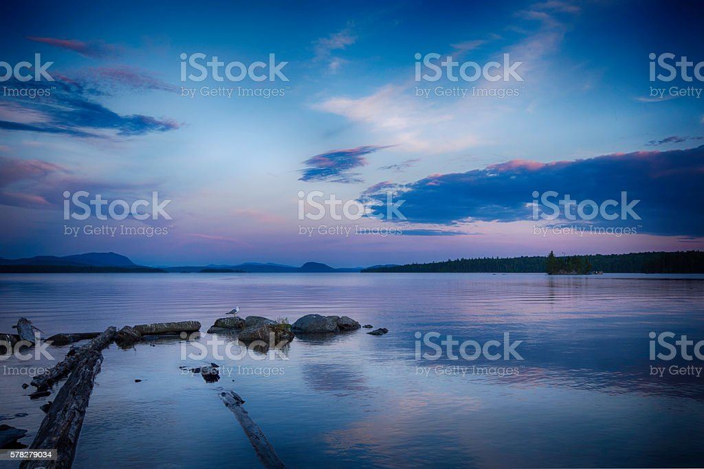 Northern Maine Sunset Over Lake stock photo