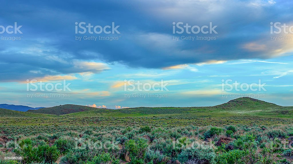 Northern Nevada Spring landscape right before dusk stock photo
