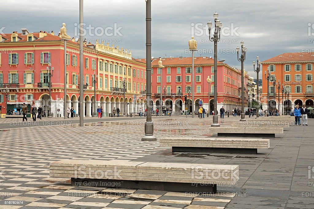Northern part of Massena Square in Nice in France stock photo