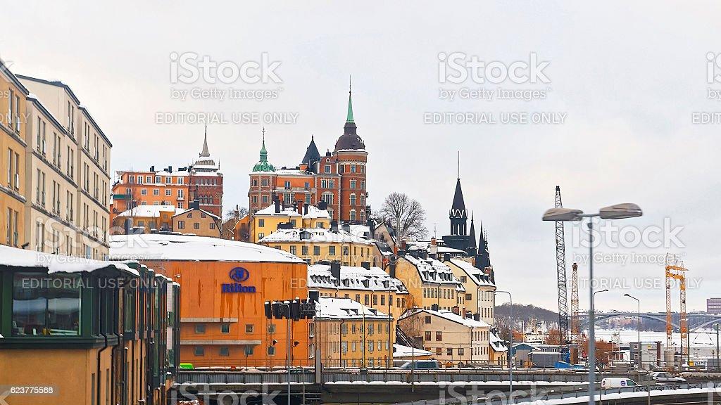 Northern Sodermalm and bridge to Riddarholmen in winter Stockholm stock photo