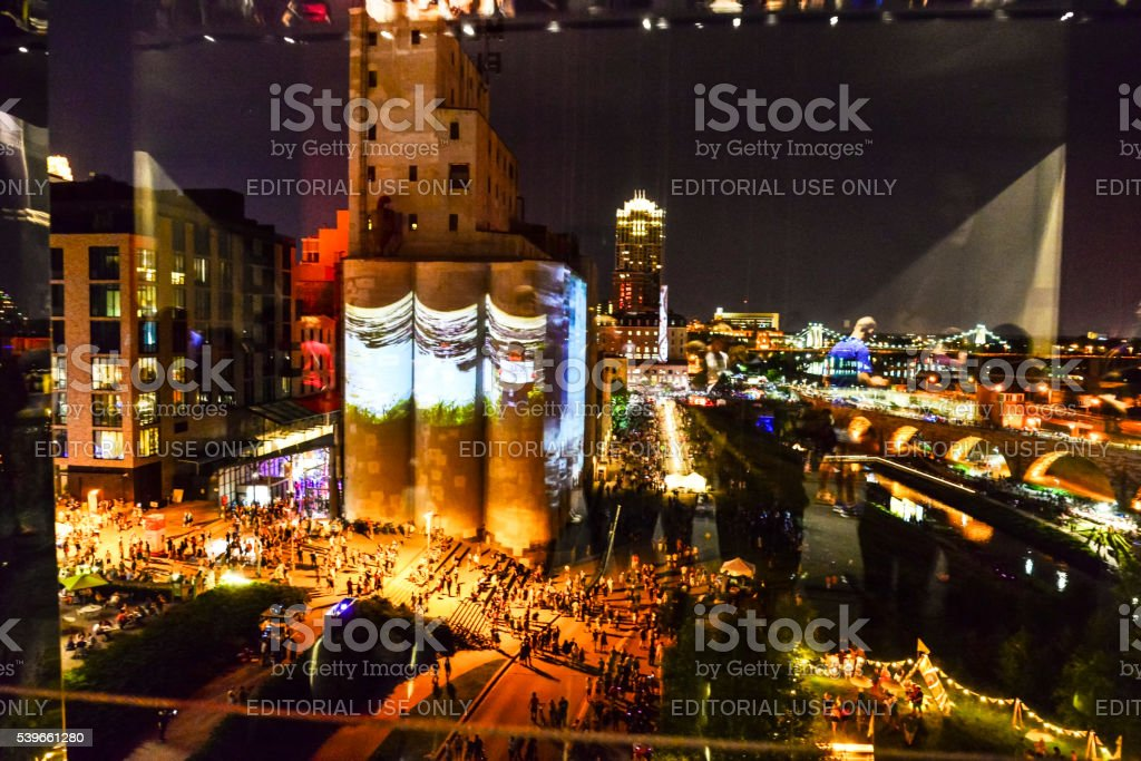 Northern Spark in Historic Mill District of Minneapolis stock photo