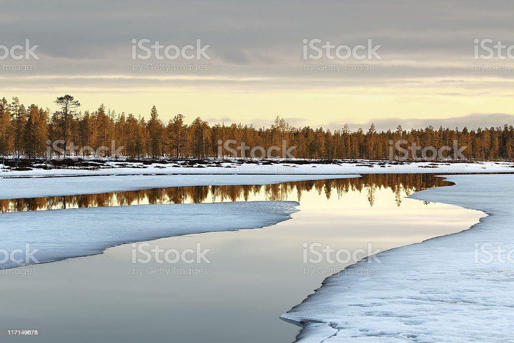 northern spring sunset stock photo