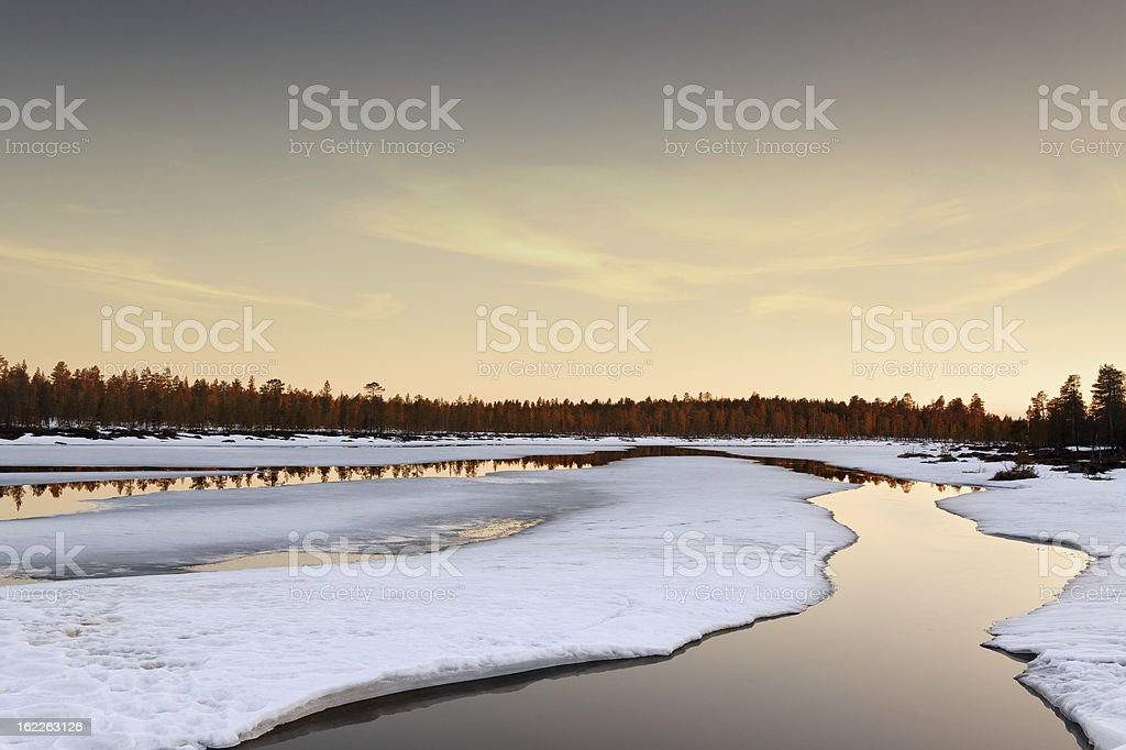 northern spring sunset royalty-free stock photo