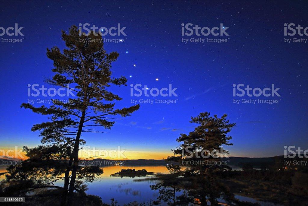 Northern Stars Over Georgian Bay stock photo