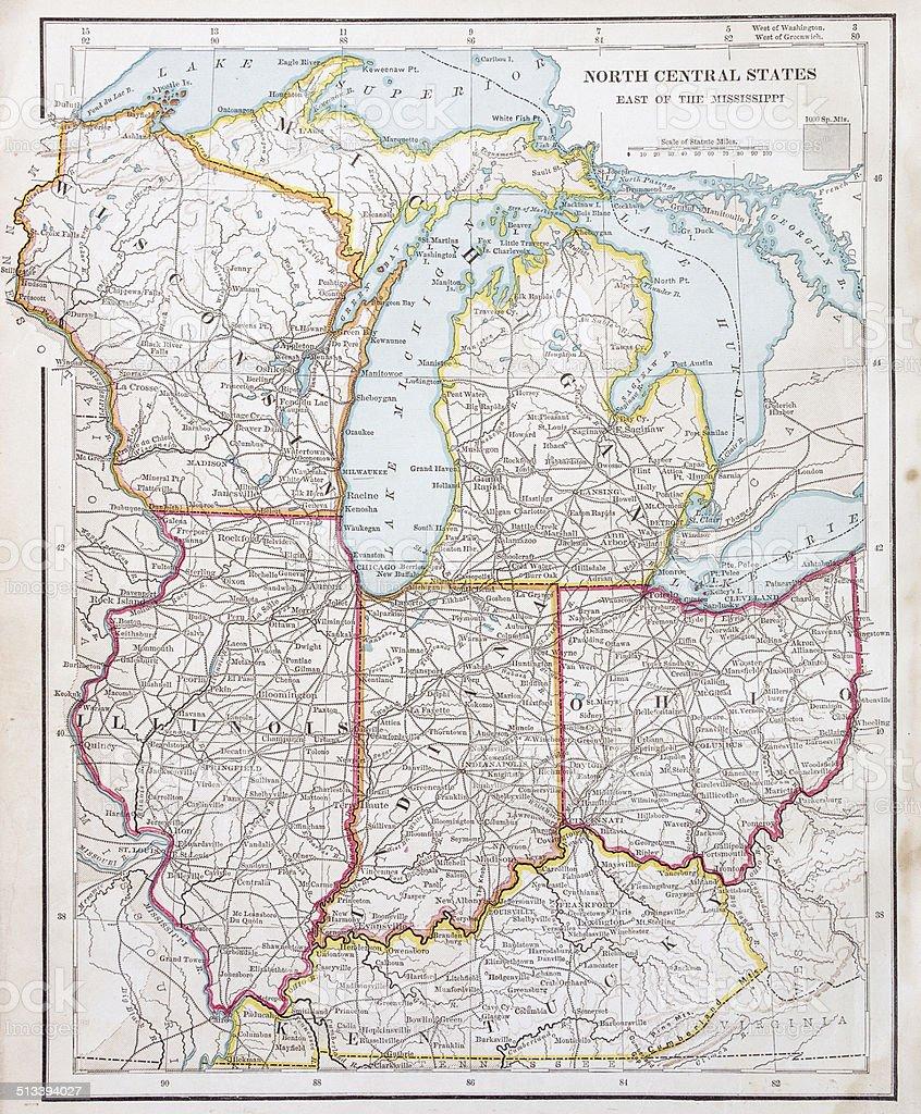 USA Northern states map 1877 stock photo