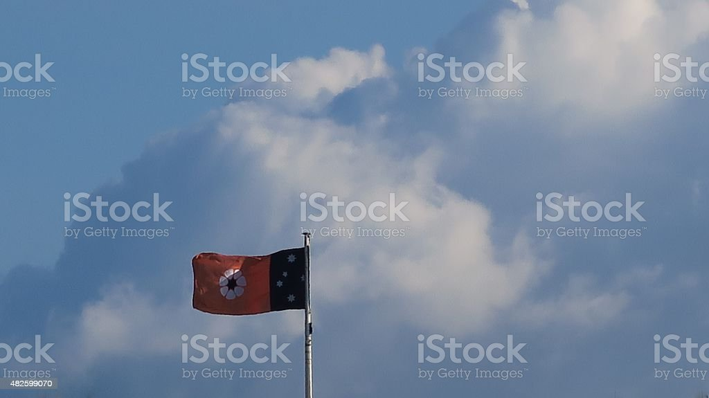 Northern Territory flag in clouds 01 stock photo