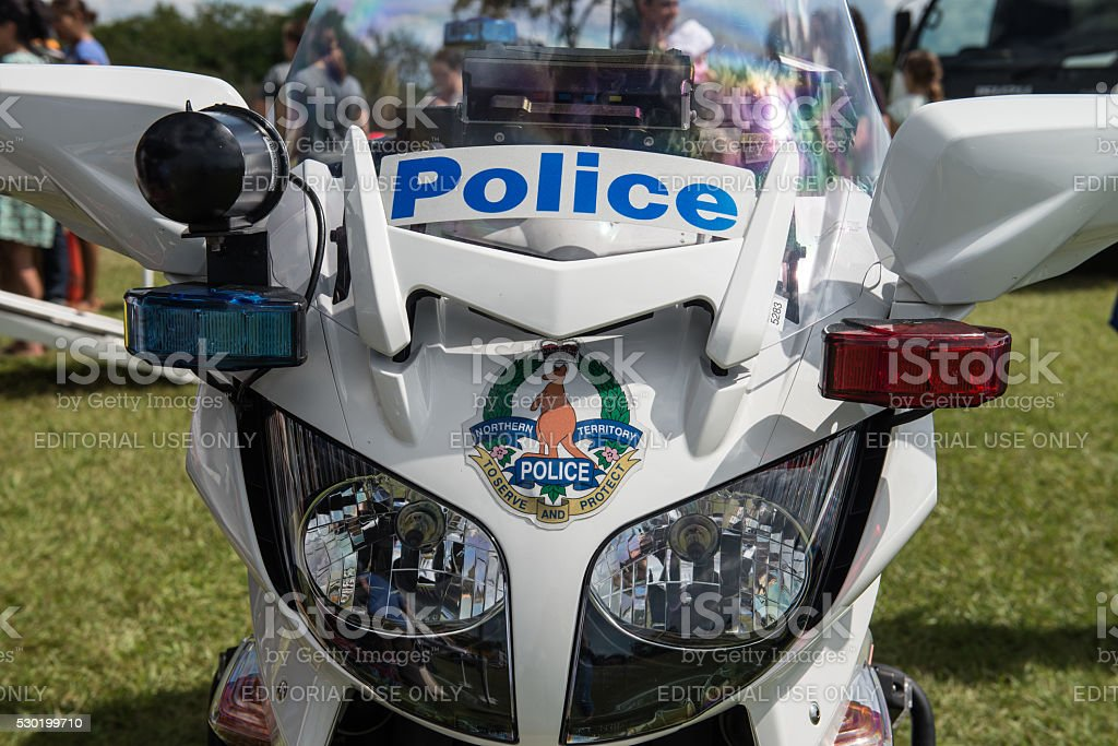 Northern Territory Police motorbike from front stock photo