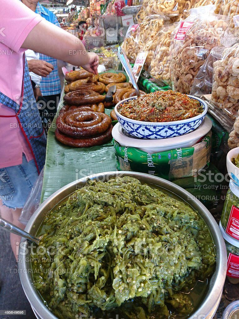 Northern Thai 'Nam Pik Num', roasted green chily paste. stock photo