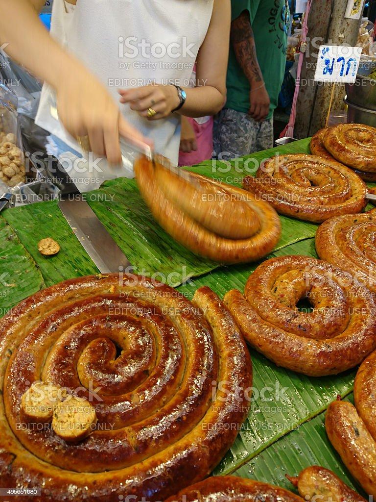 Northern Thai 'Sai Or' traditional sausage at a fresh market. stock photo