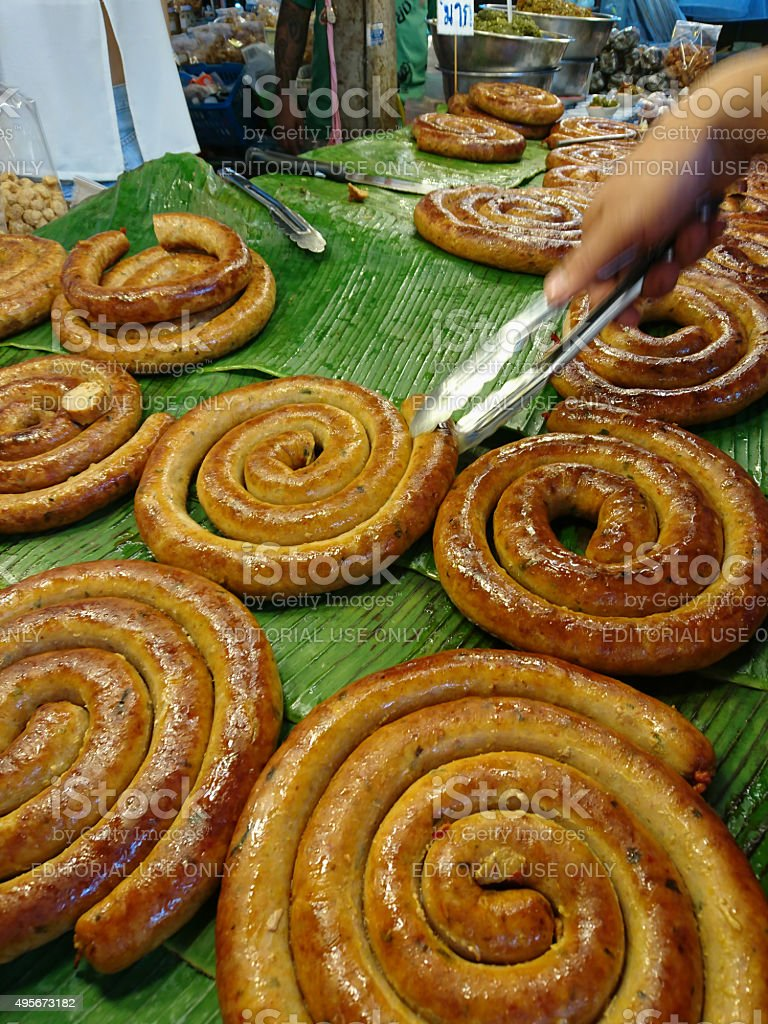 Northern Thai 'Sai Or' traditional sausage at a fresh market. stock photo