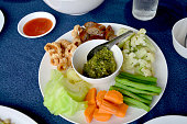 Northern Thai sausage and Green chilli dip with boiled vegetable