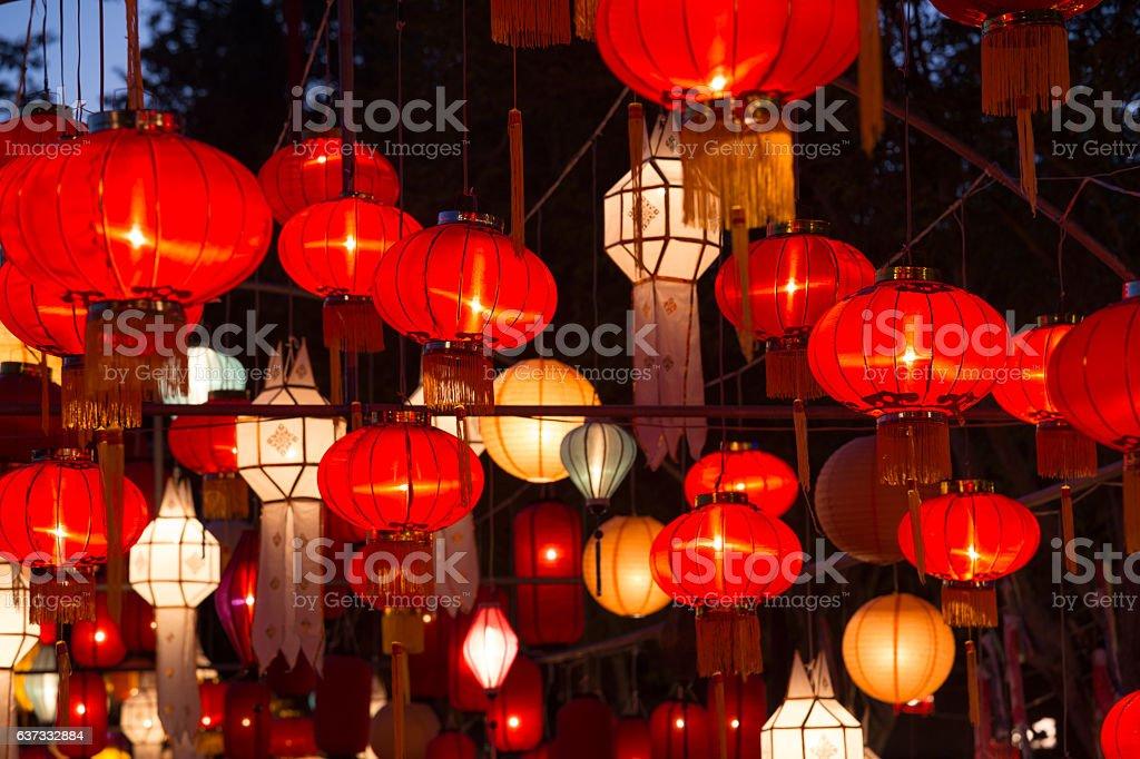 Northern Thai Style Lanterns at Loi Krathong Festival stock photo