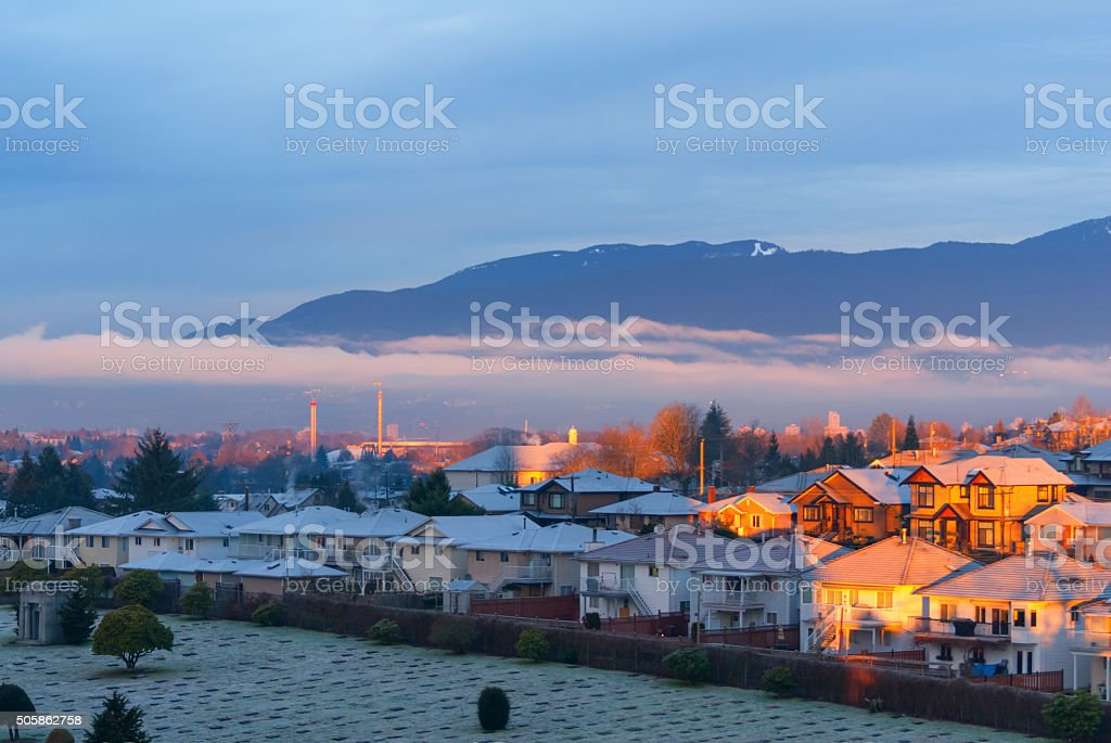 NorthShore mountains from North Burnaby stock photo