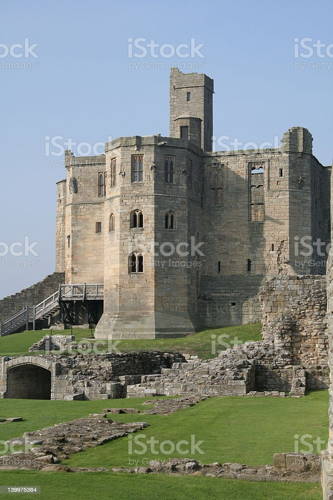 Northumberland\\'s Warkworth Castle stock photo