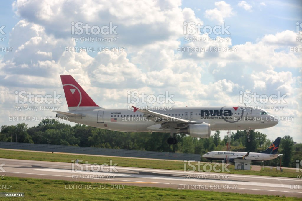 Northwest Airlines Taking off from the Detroit Metro Airport royalty-free stock photo