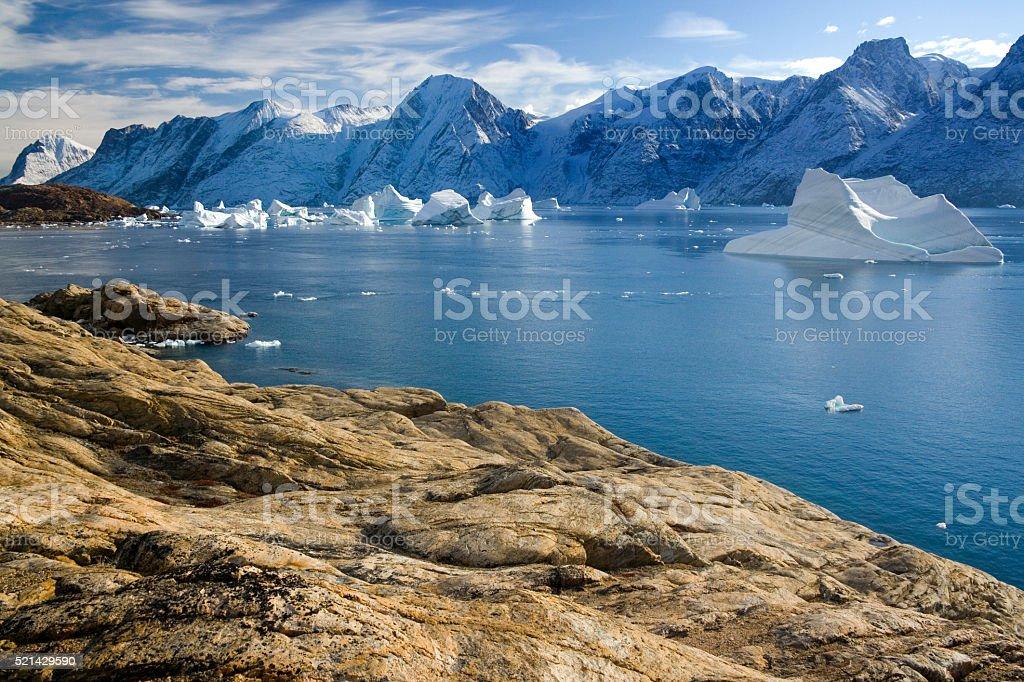 Northwest Fjord off Scoresbysund - Greenland stock photo