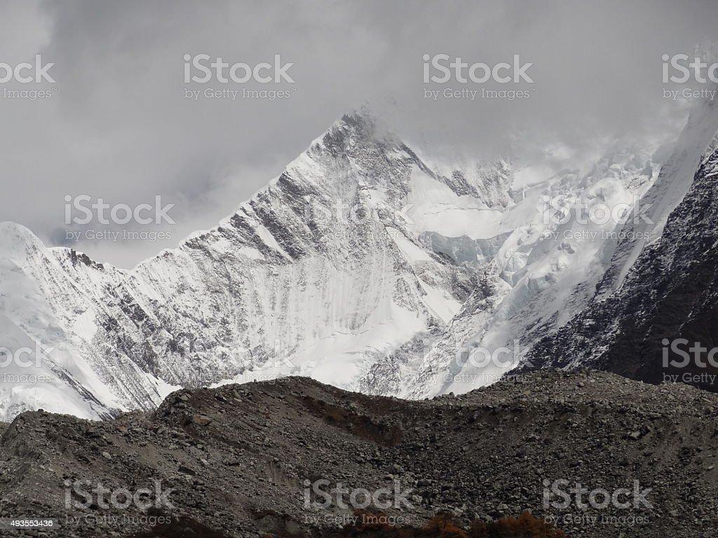 Northwest ridge of Minya Konka (7556 m), Sichuan, Tibet, China stock photo