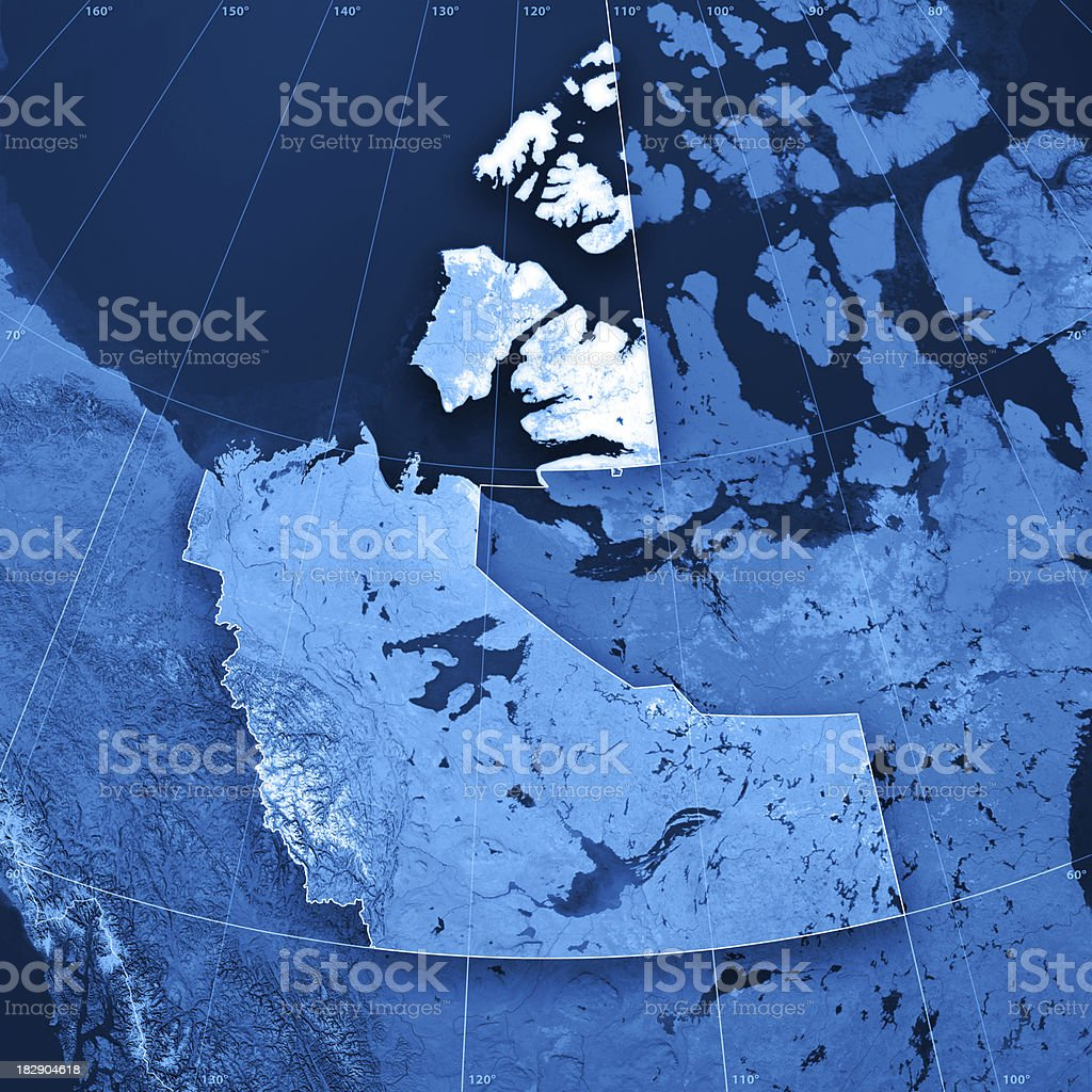 Northwest Territories Topographic Map stock photo